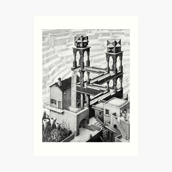Escher cascada geometría geométrica matemática Lámina artística
