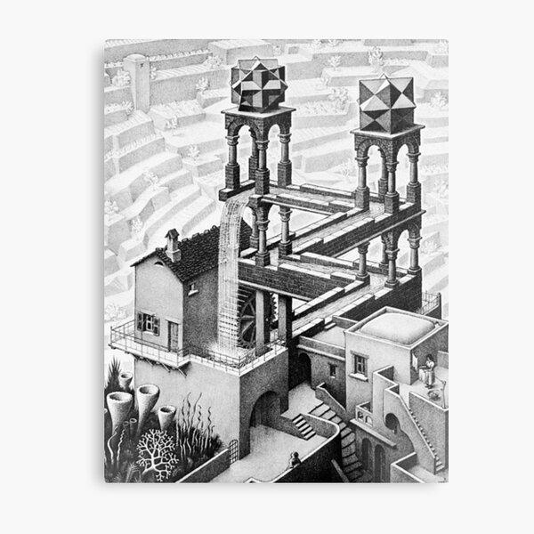 Escher waterfall geometry geometric mathematic Metal Print