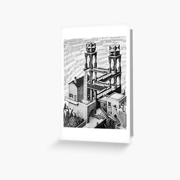 Escher waterfall geometry geometric mathematic Greeting Card
