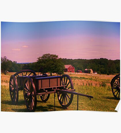 Gettysburg field,casson,and barn Poster