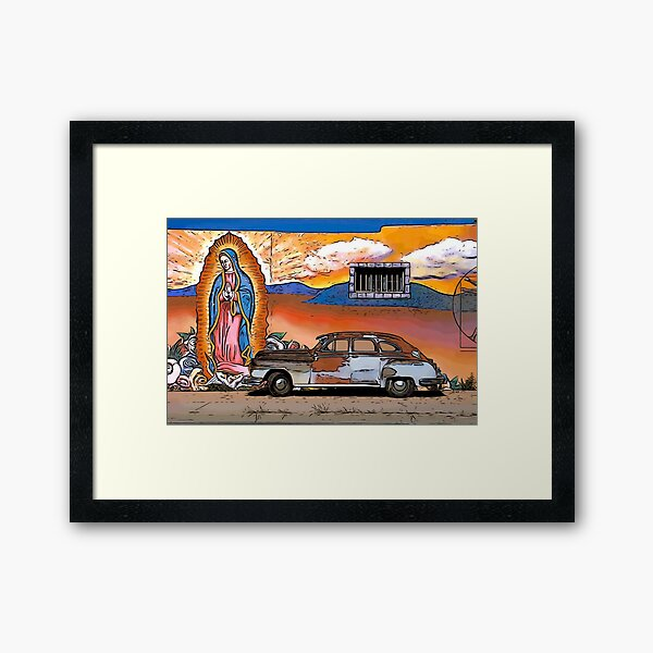 Old Car and Guadalupe Framed Art Print