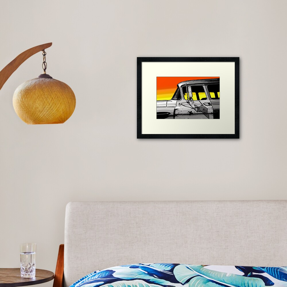 Old Car at Sunset Framed Art Print