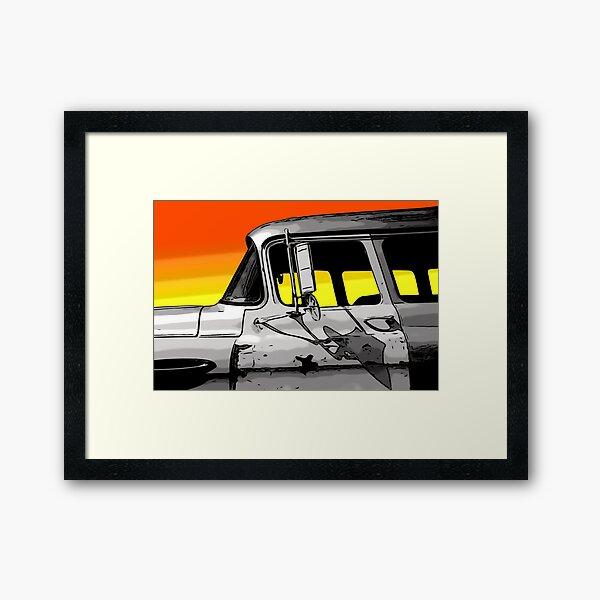 Old Car at Sunset Framed Art Print