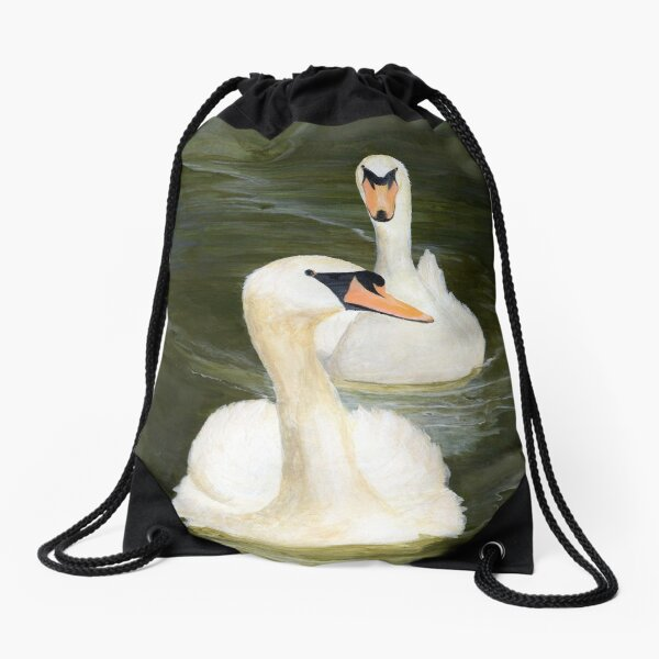Fidelity-Swans by Cecile Grace Charles Drawstring Bag