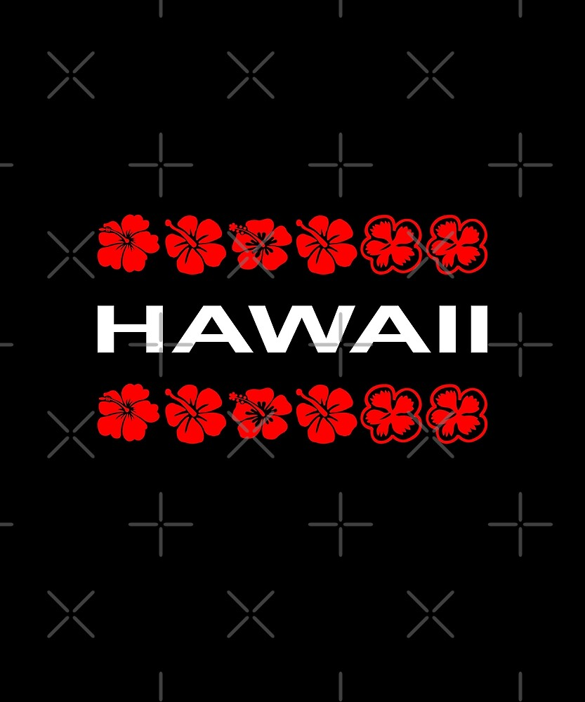 Hawaii Red Flower Bands Color Dark by TinyStarAmerica