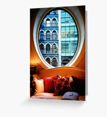 Bed & Buildings Greeting Card