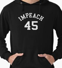 Impeach 45 (white letters) Lightweight Hoodie