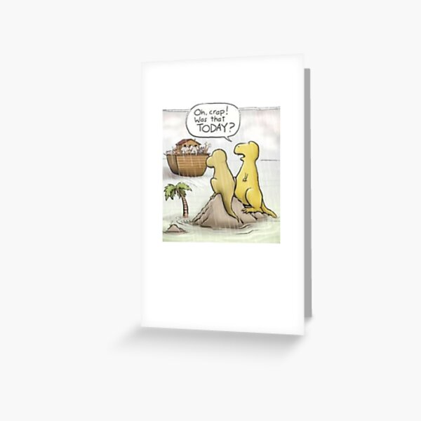 Funny dinosaurs and Noah's ark graphic design Greeting Card