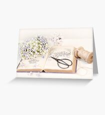 Hydrangea Still Life with Beeton's Gardening Book Greeting Card