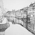 Strasbourg Reflections on River Ill by Dai Wynn