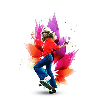 Farrah Fawcett 70s skateboard by retropopdisco