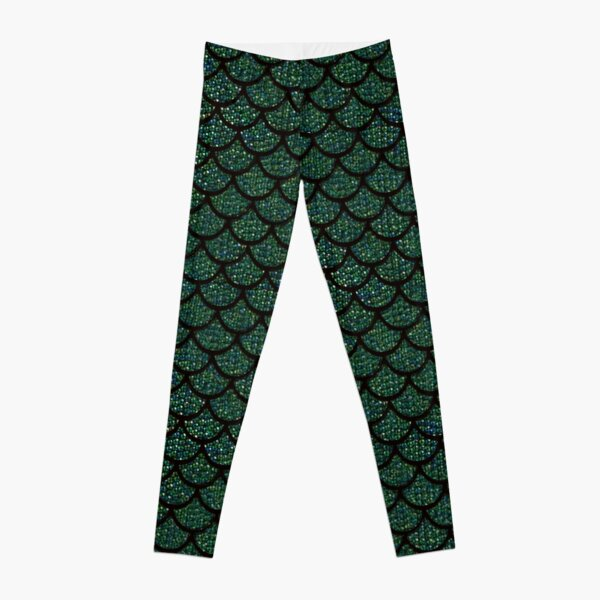 green sequin print mermaid merman Leggings