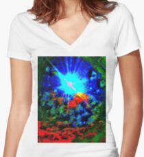 Psychedelic Spaceship Women's Fitted V-Neck T-Shirt