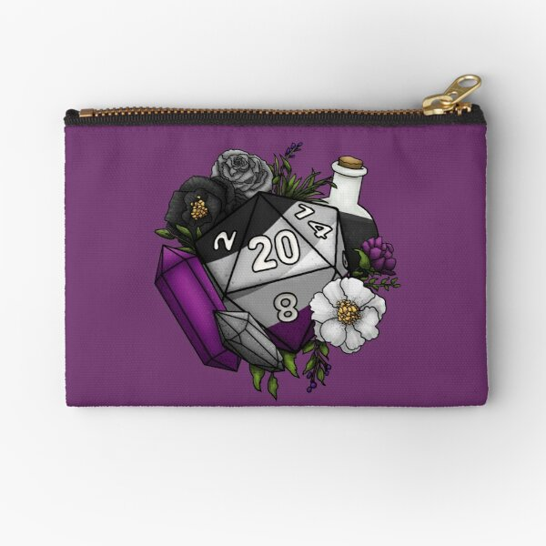 Pride Asexual D20 Tabletop RPG Gaming Dice Zipper Pouch