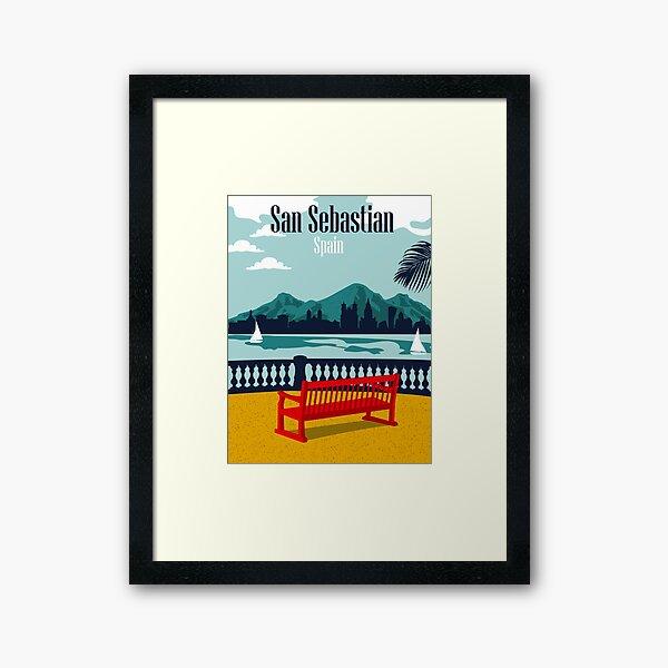 San Sebastian, Spain, view on a city and mountains Framed Art Print