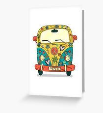Retro Hippy Camper Van Vintage Design Greeting Card
