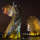 The Kelpies at Night, Falkirk, Scotland by Cliff Williams