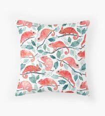 Chameleon garden Throw Pillow