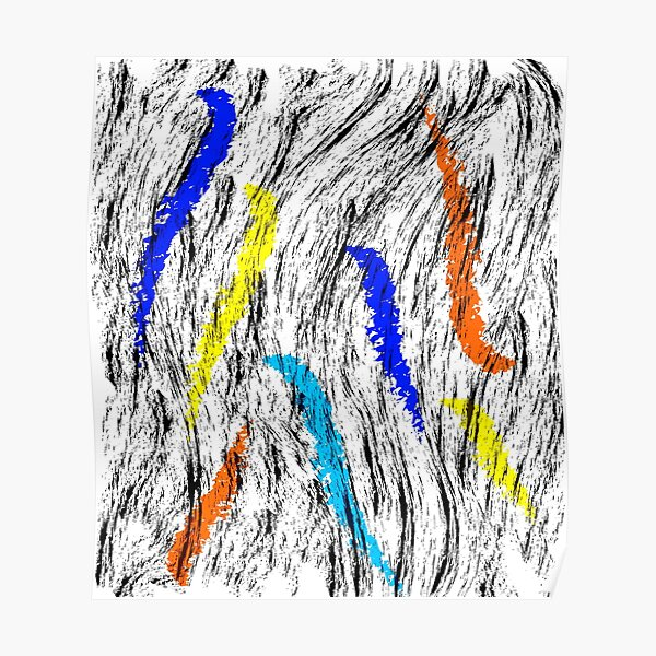 abstract multicolour brushes  Poster
