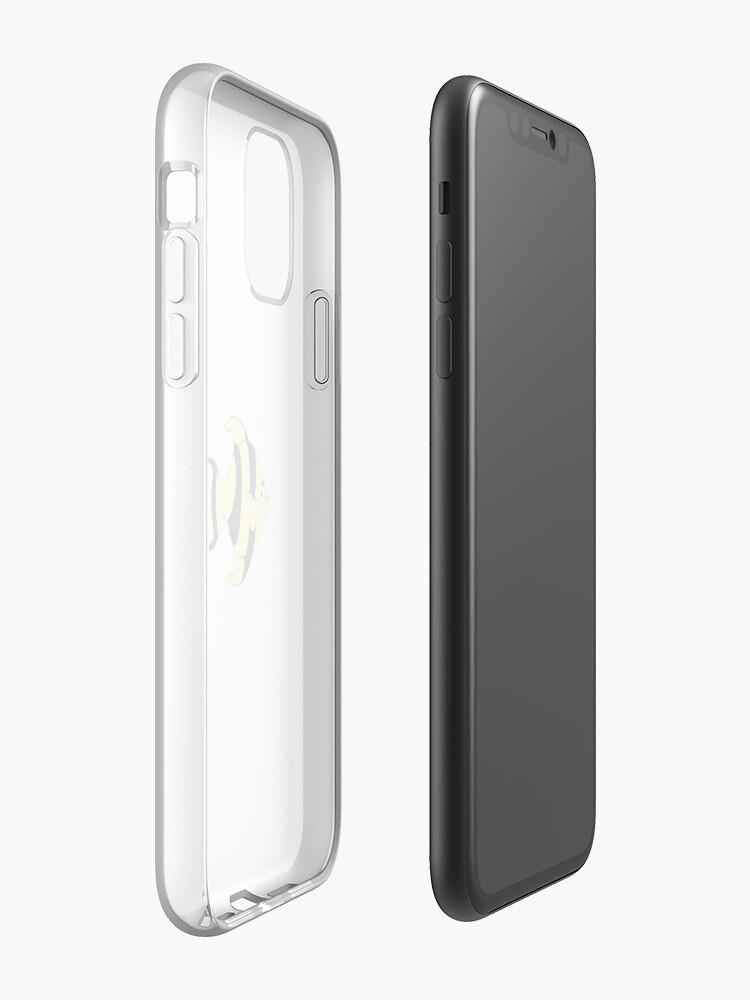 Coque iPhone «Art de poisson noir et jaune», par korkmazdo