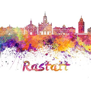 Rastatt skyline in watercolor splatters with clipping path by paulrommer
