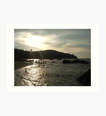 Penang beach at sunset Art Print