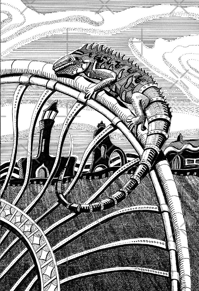 209 - IGUANA DRAGON KEEPS WATCH - DAVE EDWARDS - INK - 2007 by BLYTHART