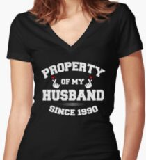 propertyhusband 1990 Women's Fitted V-Neck T-Shirt