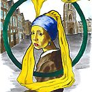 The girl with pearl earring, holding her portrait on the main square of Delft by Norbert Kiss