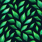 Abstract Botanical Painted Green Leaves Pattern by Boriana Giormova