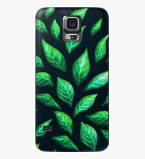 Abstract Botanical Painted Green Leaves Pattern Case/Skin for Samsung Galaxy