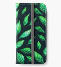 Abstract Botanical Painted Green Leaves Pattern iPhone Wallet/Case/Skin