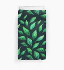 Abstract Botanical Painted Green Leaves Pattern Duvet Cover