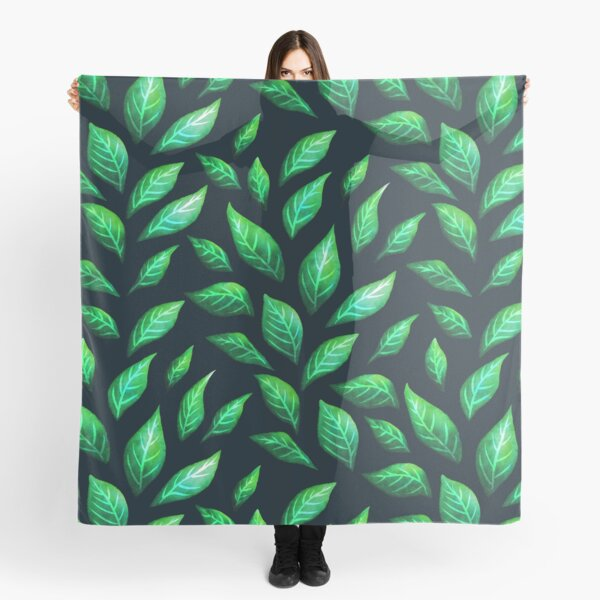 Abstract Botanical Painted Green Leaves Pattern Scarf