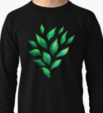 Abstract Botanical Painted Green Leaves Pattern Lightweight Sweatshirt