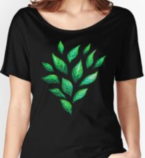Abstract Botanical Painted Green Leaves Pattern Women's Relaxed Fit T-Shirt