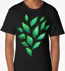 Abstract Botanical Painted Green Leaves Pattern Long T-Shirt