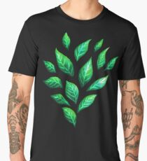 Abstract Botanical Painted Green Leaves Pattern Men's Premium T-Shirt