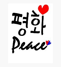 Peace in Korean and English txt vector art Photographic Print