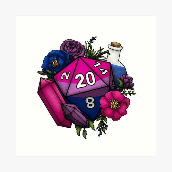 Pride Bisexual D20 Tabletop RPG Gaming Dice Art Print
