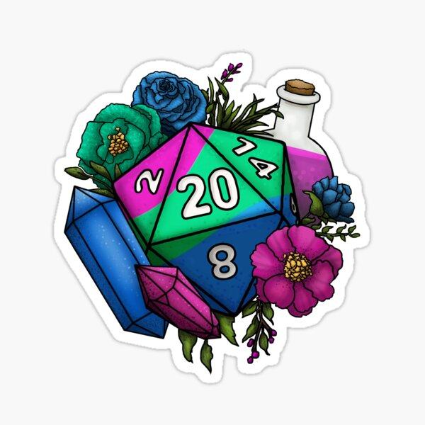 Pride Polysexual D20 Tabletop RPG Gaming Dice Sticker