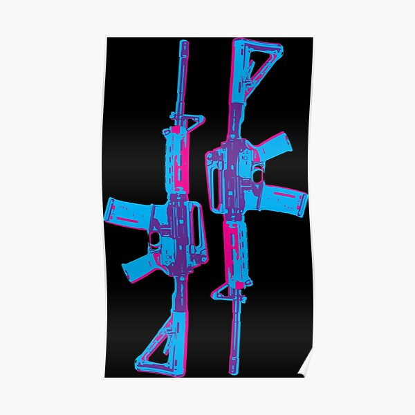 Neon M4 Carbine (Rifle) Poster