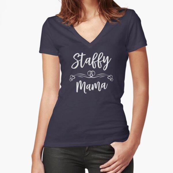 Staffordshire bull terrier Mom - Funny Dog Lover Gift Fitted V-Neck T-Shirt