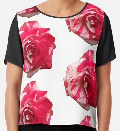 eine zauberhafte Rose, rot, weiß, Rosen, Sommer Chiffontop für Frauen