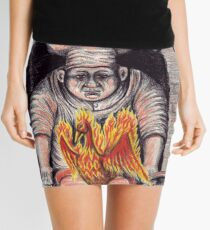 Frying Phoenix ink and colored pencil drawing Mini Skirt