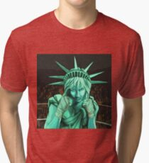 Lady Liberty Fighting for the People Tri-blend T-Shirt