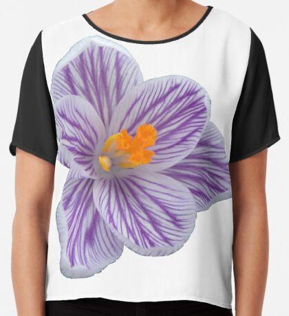 fabelhafte Krokusblüte, Krokus in der Farbe lila, violett Chiffontop für Frauen