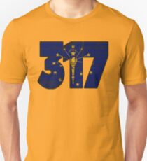 LOVE THAT  317 LIFE - YOUR FAVORITE AREA CODE WITH A HEAVY WOOD OVERLAY DISTRESS Unisex T-Shirt