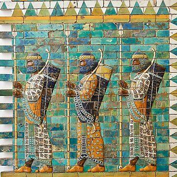 Persian Guard of Darius - Persepolis Ancient Mosaic by Dipardiou