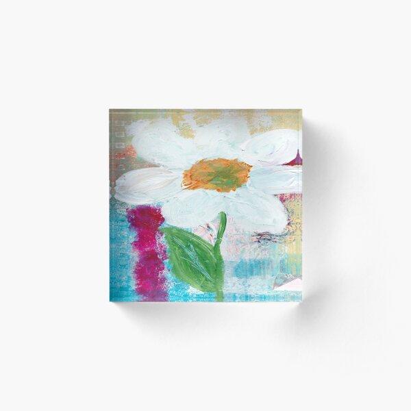WHITE FLOWER Acrylic Block